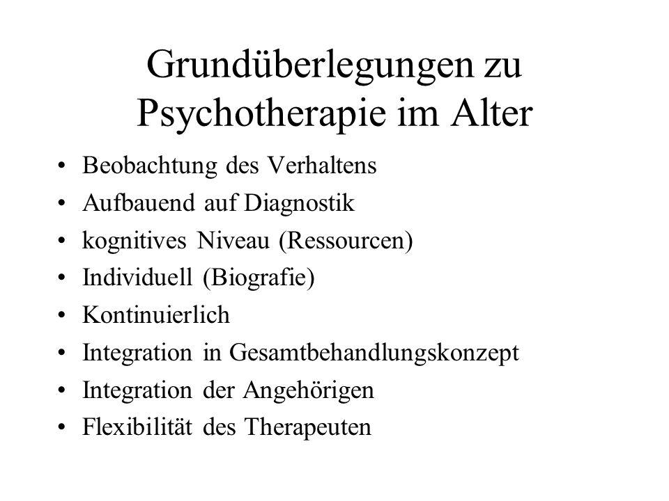Grundüberlegungen zu Psychotherapie im Alter