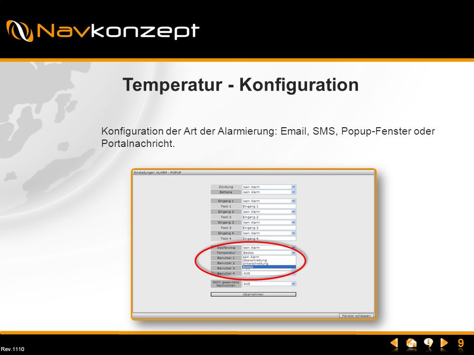 Temperatur - Konfiguration