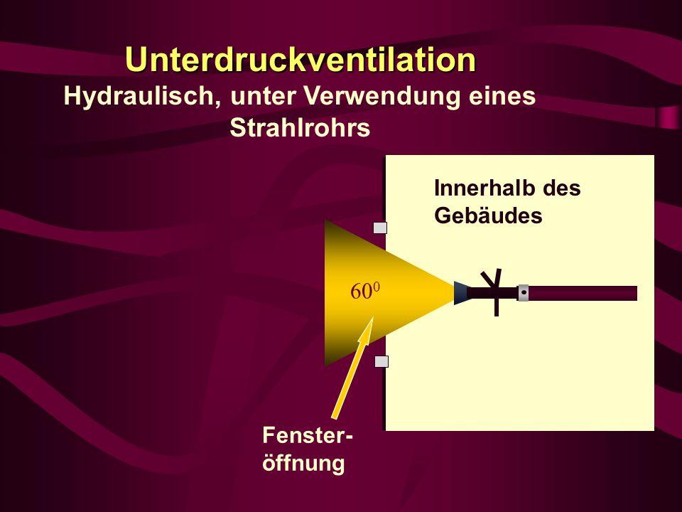 Unterdruckventilation Hydraulisch, unter Verwendung eines Strahlrohrs