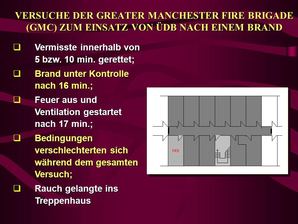 VERSUCHE DER GREATER MANCHESTER FIRE BRIGADE (GMC) ZUM EINSATZ VON ÜDB NACH EINEM BRAND