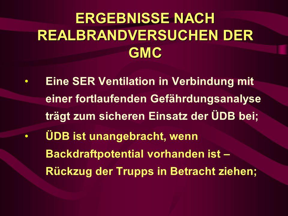 ERGEBNISSE NACH REALBRANDVERSUCHEN DER GMC
