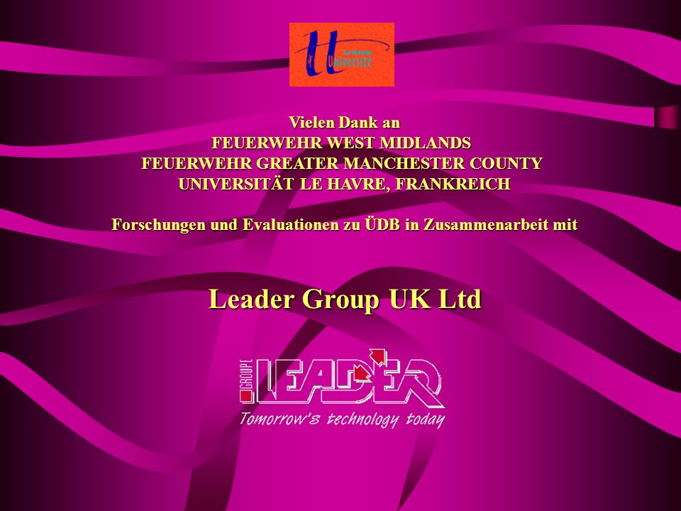 Leader Group UK Ltd Vielen Dank an FEUERWEHR WEST MIDLANDS