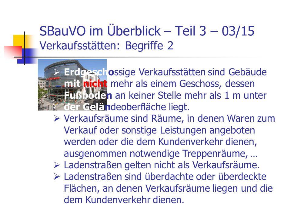SBauVO im Überblick – Teil 3 – 03/15 Verkaufsstätten: Begriffe 2