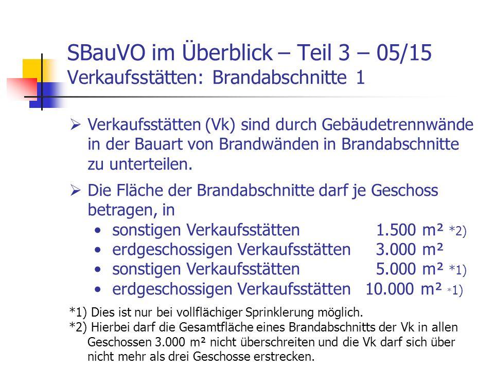 SBauVO im Überblick – Teil 3 – 05/15 Verkaufsstätten: Brandabschnitte 1