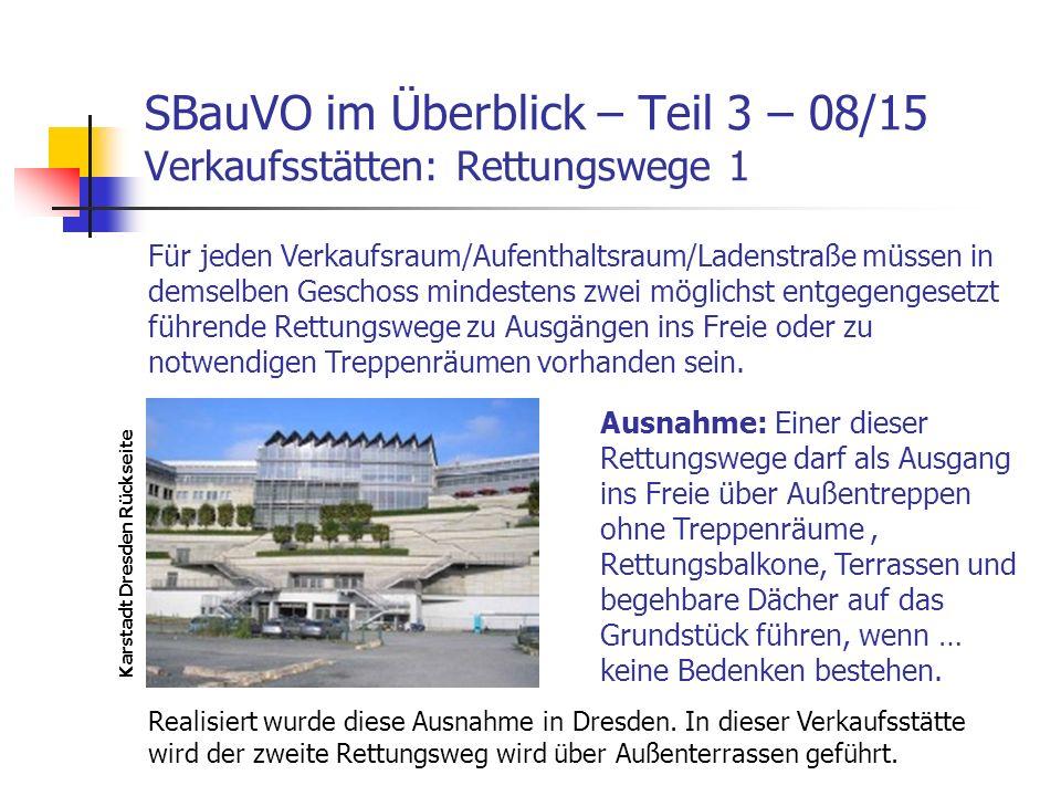 SBauVO im Überblick – Teil 3 – 08/15 Verkaufsstätten: Rettungswege 1