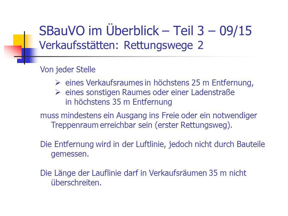 SBauVO im Überblick – Teil 3 – 09/15 Verkaufsstätten: Rettungswege 2