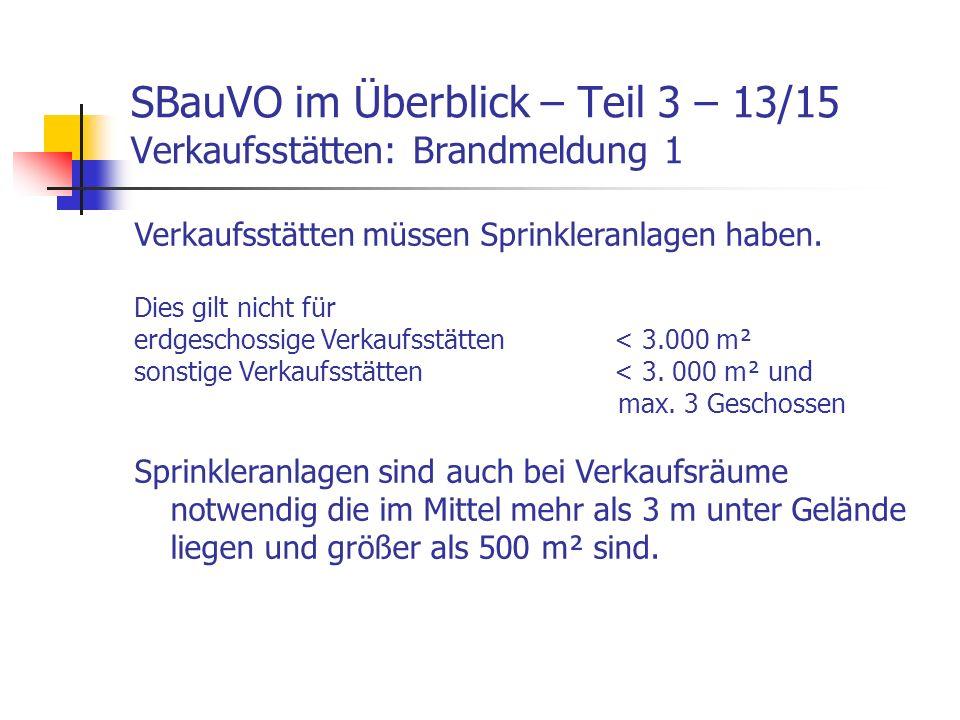 SBauVO im Überblick – Teil 3 – 13/15 Verkaufsstätten: Brandmeldung 1