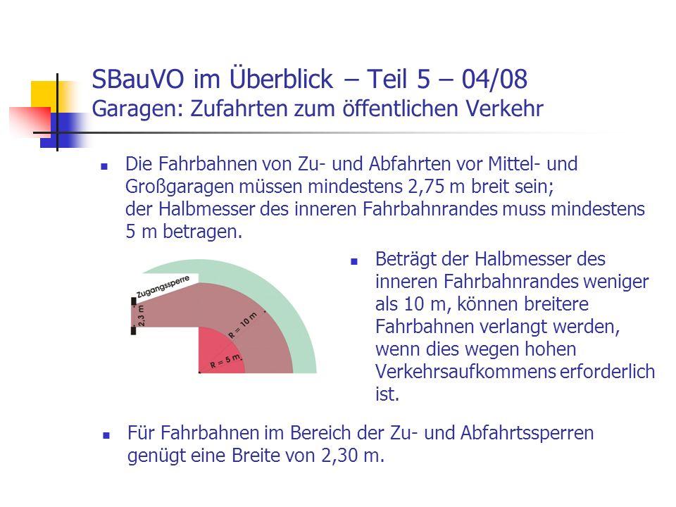 SBauVO im Überblick – Teil 5 – 04/08 Garagen: Zufahrten zum öffentlichen Verkehr