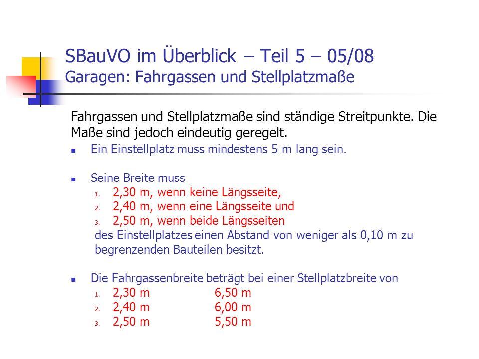 SBauVO im Überblick – Teil 5 – 05/08 Garagen: Fahrgassen und Stellplatzmaße