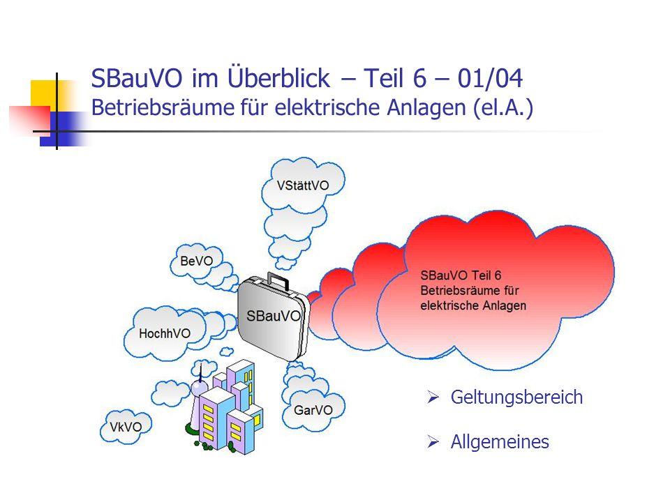 SBauVO im Überblick – Teil 6 – 01/04 Betriebsräume für elektrische Anlagen (el.A.)