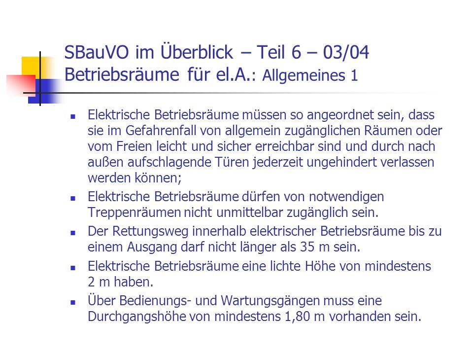 SBauVO im Überblick – Teil 6 – 03/04 Betriebsräume für el. A