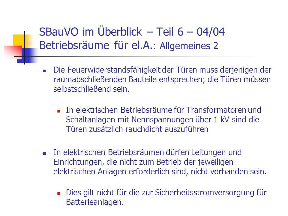 SBauVO im Überblick – Teil 6 – 04/04 Betriebsräume für el. A
