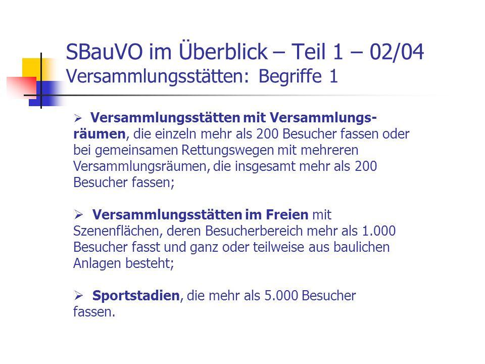 SBauVO im Überblick – Teil 1 – 02/04 Versammlungsstätten: Begriffe 1