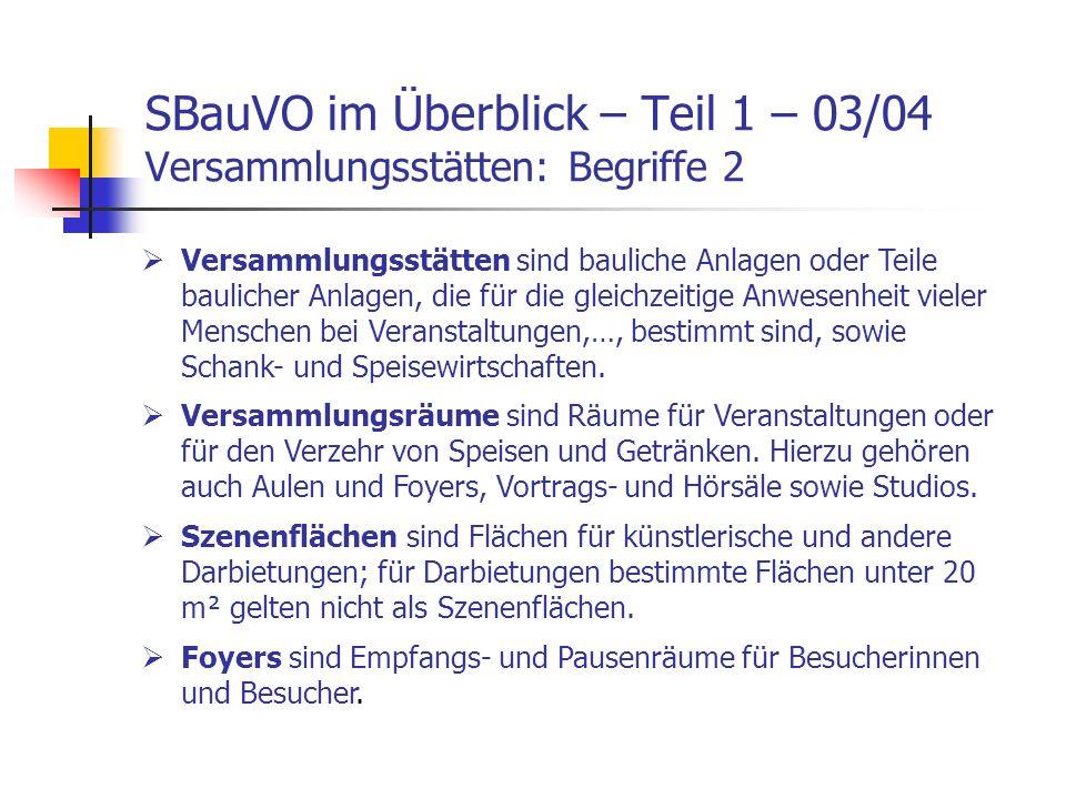 SBauVO im Überblick – Teil 1 – 03/04 Versammlungsstätten: Begriffe 2