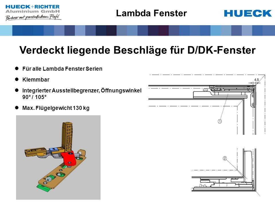 Verdeckt liegende Beschläge für D/DK-Fenster
