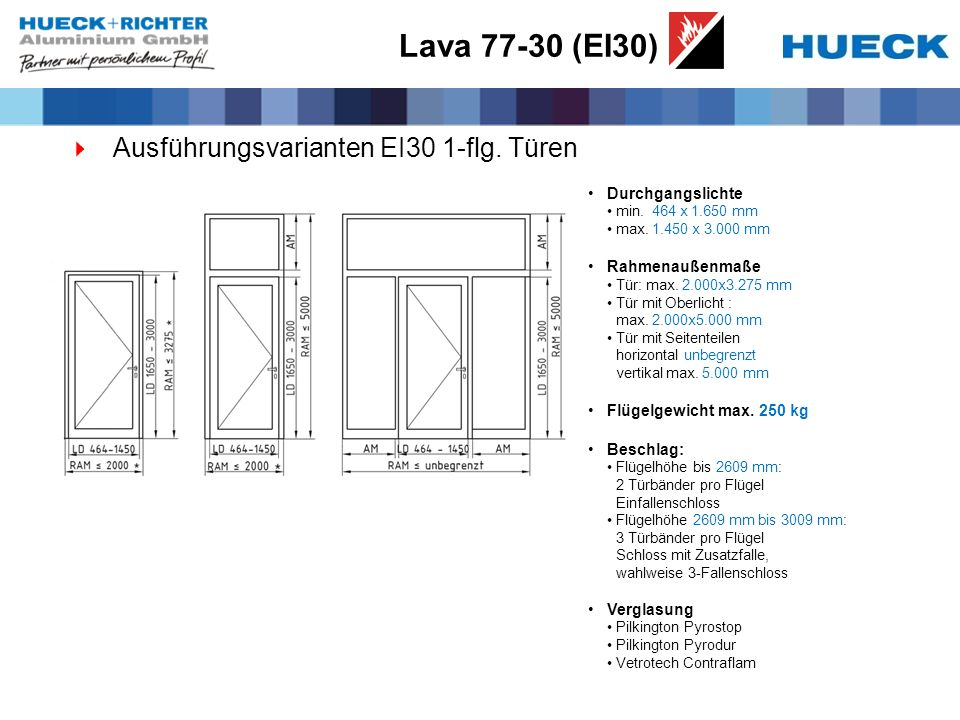 Lava 77-30 (EI30) Ausführungsvarianten EI30 1-flg. Türen