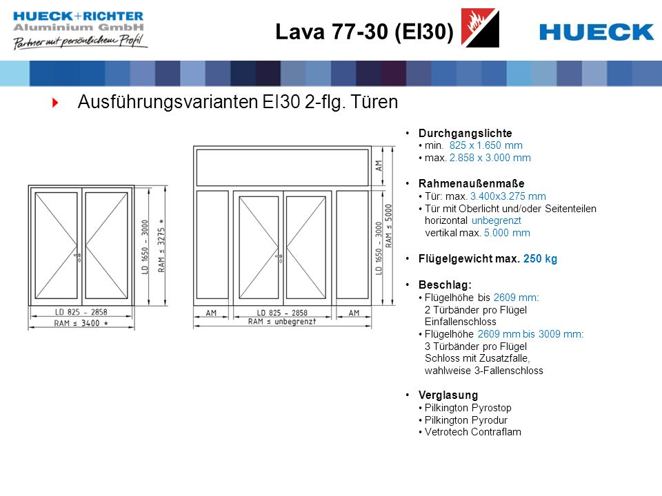 Lava 77-30 (EI30) Ausführungsvarianten EI30 2-flg. Türen