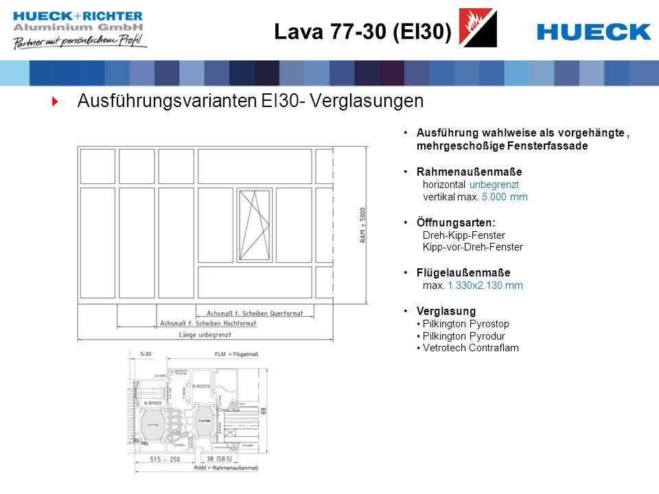 Lava 77-30 (EI30) Ausführungsvarianten EI30- Verglasungen