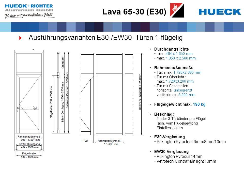Lava 65-30 (E30) Ausführungsvarianten E30-/EW30- Türen 1-flügelig