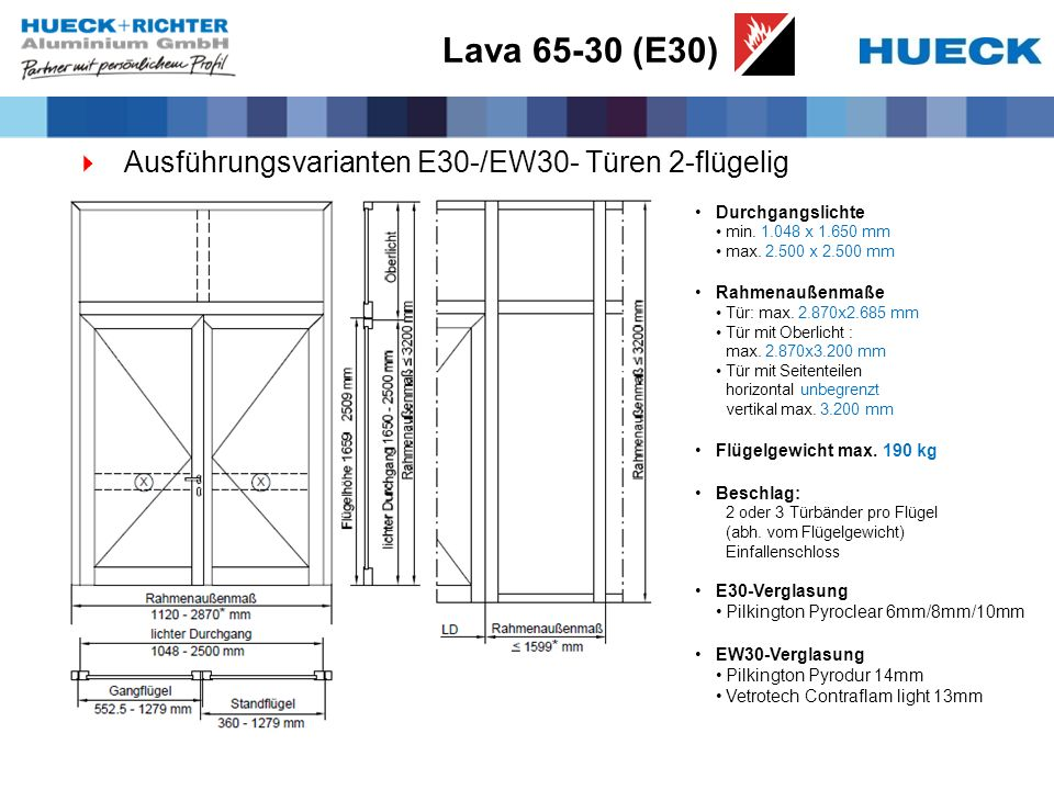 Lava 65-30 (E30) Ausführungsvarianten E30-/EW30- Türen 2-flügelig