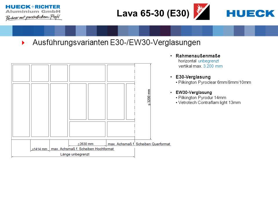 Lava 65-30 (E30) Ausführungsvarianten E30-/EW30-Verglasungen
