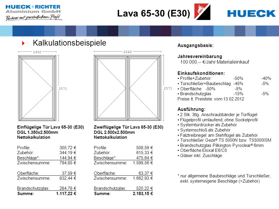 Lava 65-30 (E30) Kalkulationsbeispiele Ausgangsbasis: