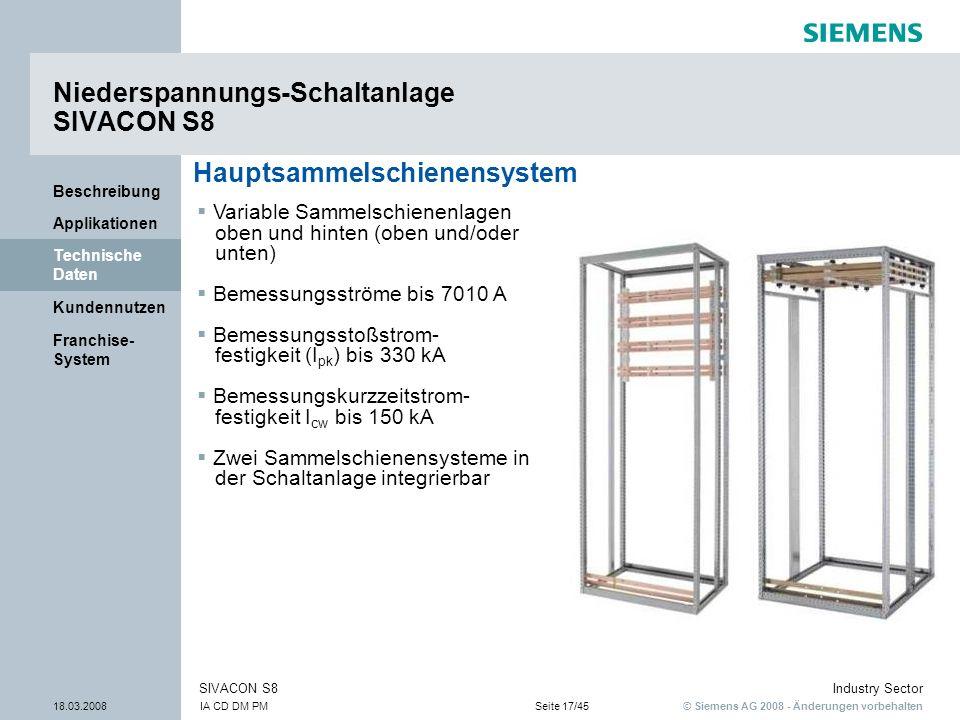 Niederspannungs-Schaltanlage SIVACON S8