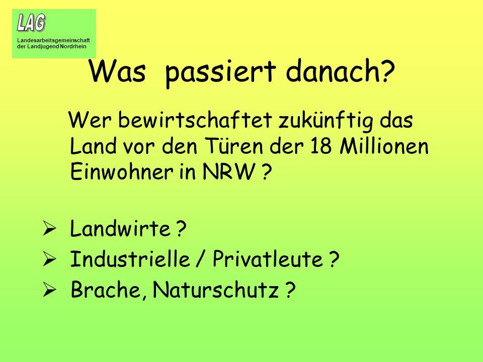 Was passiert danach Wer bewirtschaftet zukünftig das Land vor den Türen der 18 Millionen Einwohner in NRW