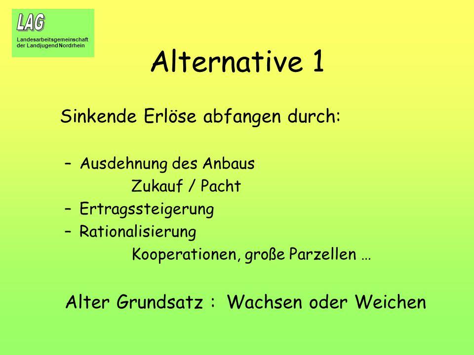 Alternative 1 Alter Grundsatz : Wachsen oder Weichen