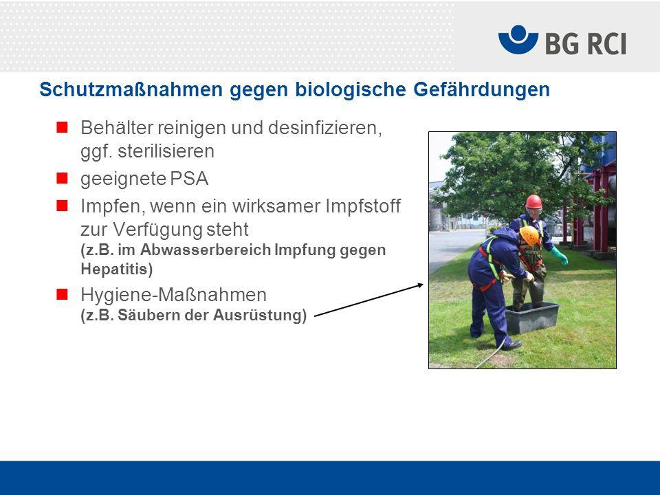 Schutzmaßnahmen gegen biologische Gefährdungen