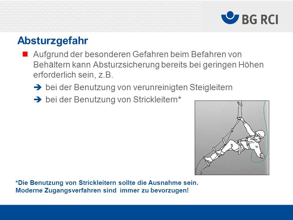 Absturzgefahr Aufgrund der besonderen Gefahren beim Befahren von Behältern kann Absturzsicherung bereits bei geringen Höhen erforderlich sein, z.B.