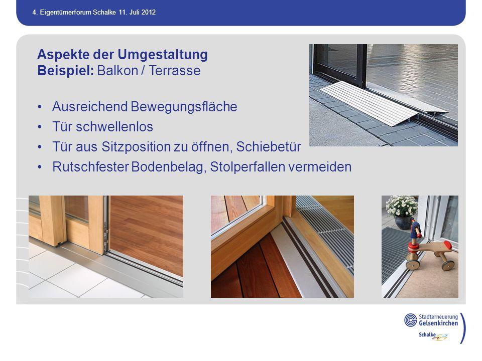 Aspekte der Umgestaltung Beispiel: Balkon / Terrasse
