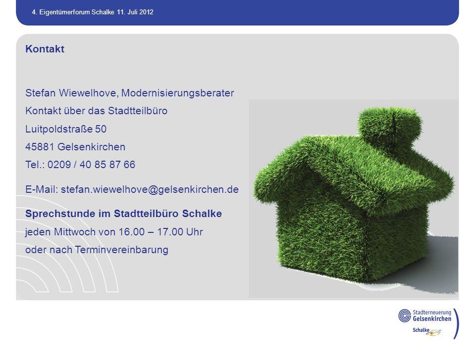 Kontakt Stefan Wiewelhove, Modernisierungsberater. Kontakt über das Stadtteilbüro. Luitpoldstraße 50.