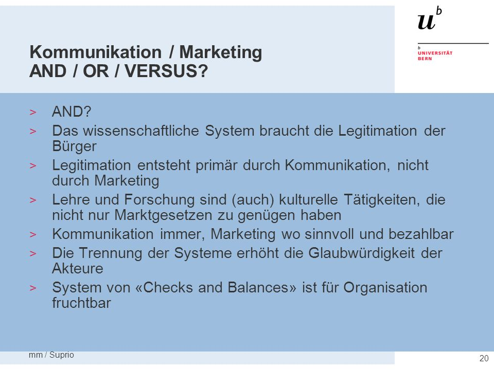 Kommunikation / Marketing AND / OR / VERSUS