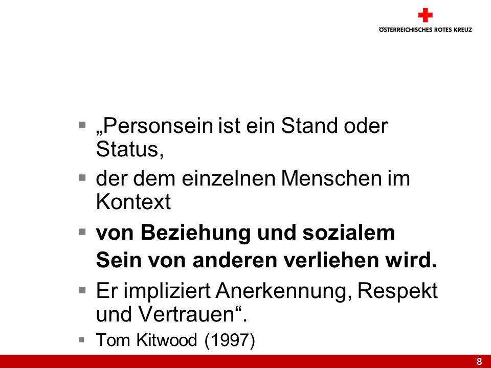 """""""Personsein ist ein Stand oder Status,"""