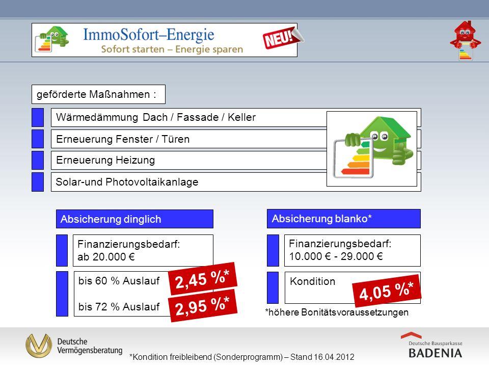2,45 %* 4,05 %* 2,95 %* geförderte Maßnahmen :