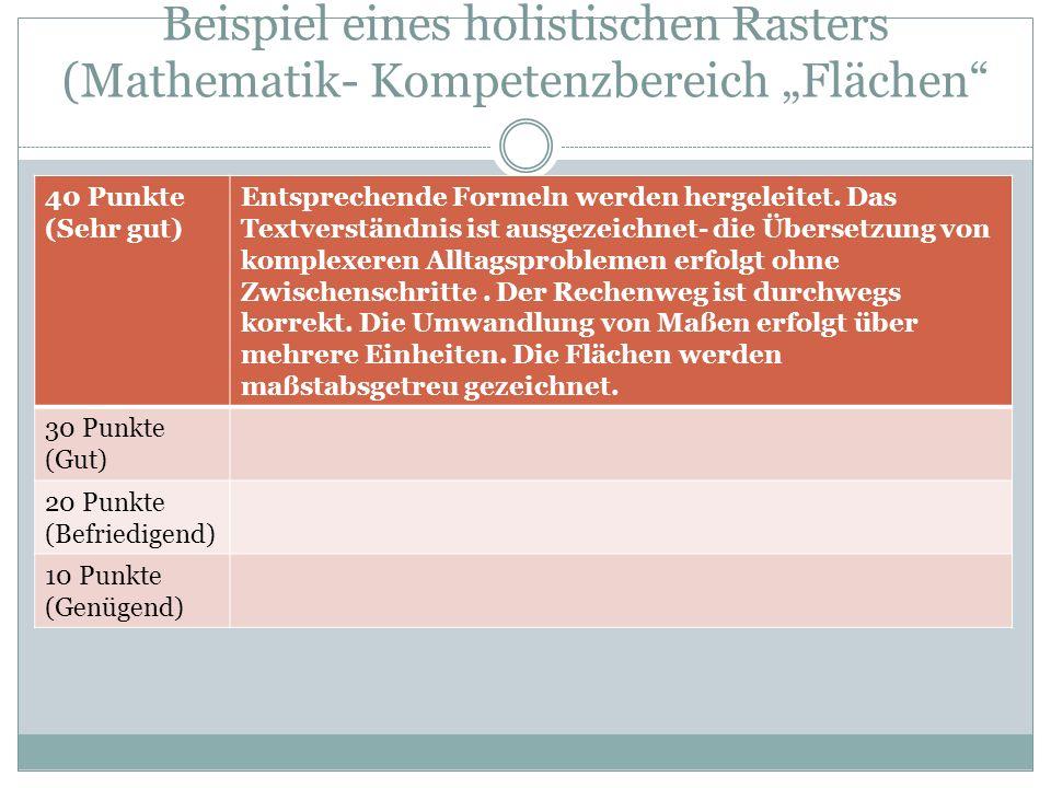 """Beispiel eines holistischen Rasters (Mathematik- Kompetenzbereich """"Flächen"""