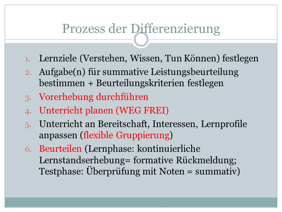 Prozess der Differenzierung