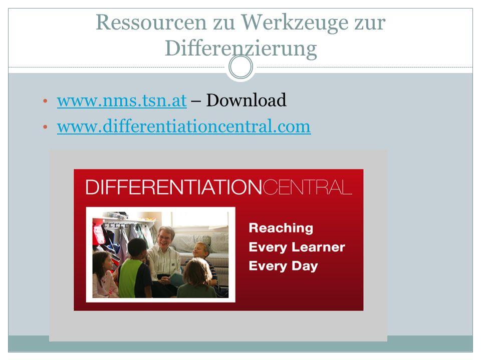 Ressourcen zu Werkzeuge zur Differenzierung