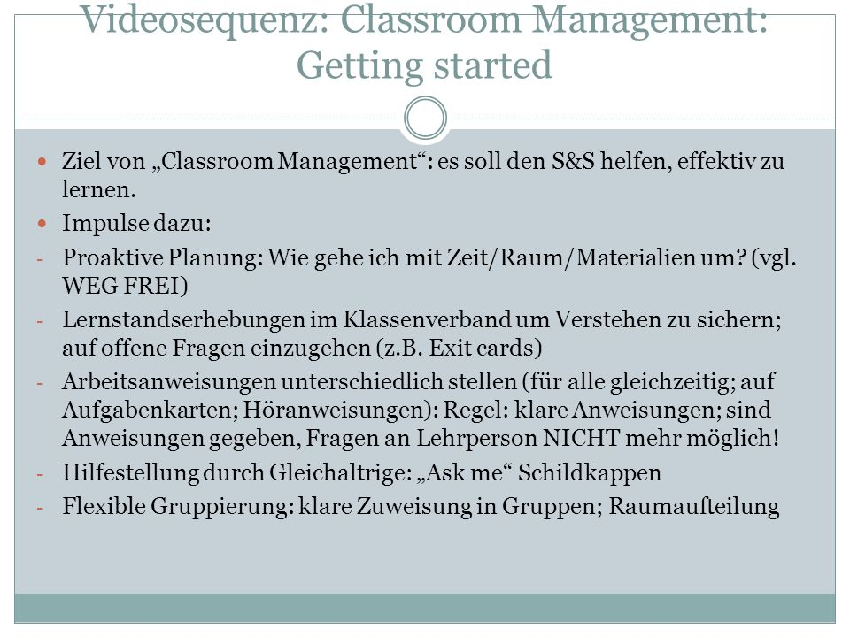 Videosequenz: Classroom Management: Getting started