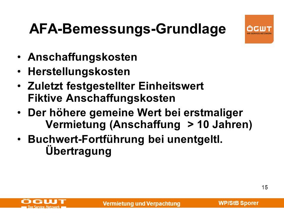 AFA-Bemessungs-Grundlage