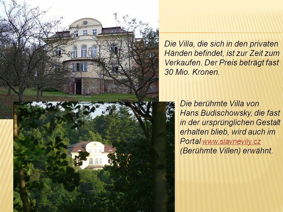 Die Villa, die sich in den privaten Händen befindet, ist zur Zeit zum Verkaufen. Der Preis beträgt fast 30 Mio. Kronen.