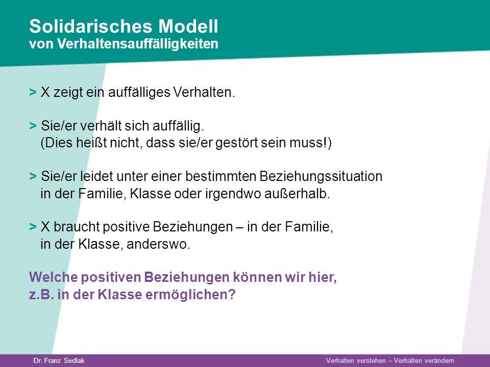 Solidarisches Modell von Verhaltensauffälligkeiten