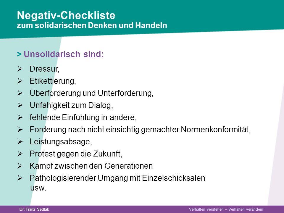 Negativ-Checkliste zum solidarischen Denken und Handeln