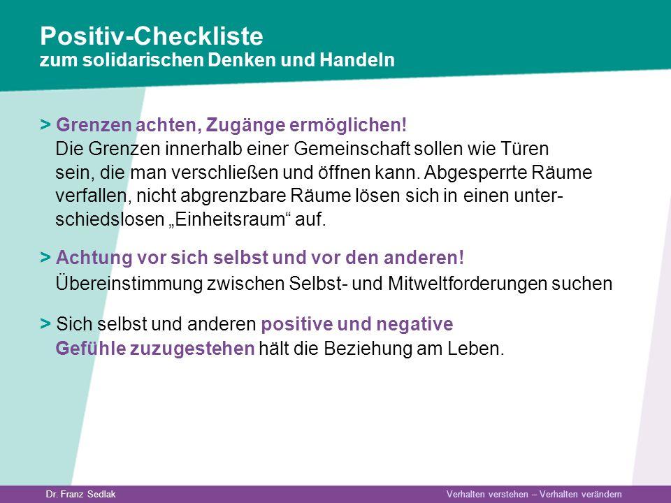 Positiv-Checkliste zum solidarischen Denken und Handeln