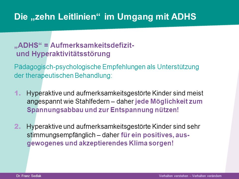 "Die ""zehn Leitlinien im Umgang mit ADHS"