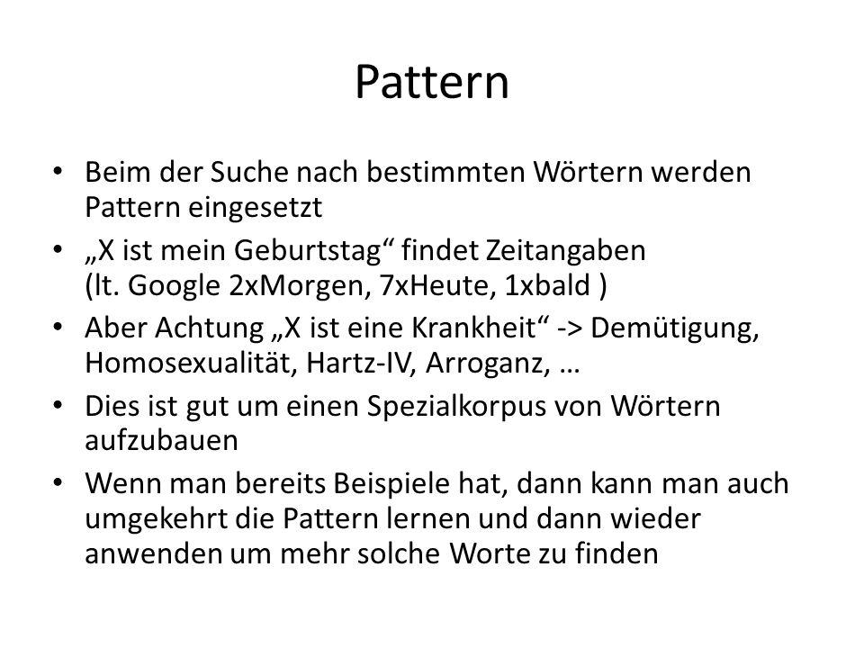 Pattern Beim der Suche nach bestimmten Wörtern werden Pattern eingesetzt.