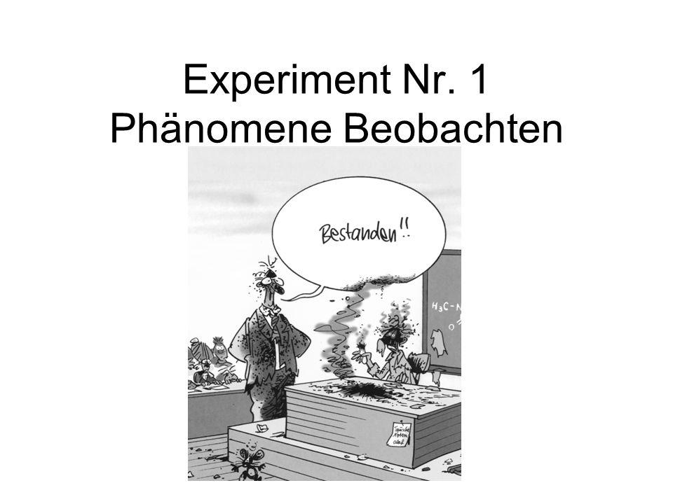Experiment Nr. 1 Phänomene Beobachten