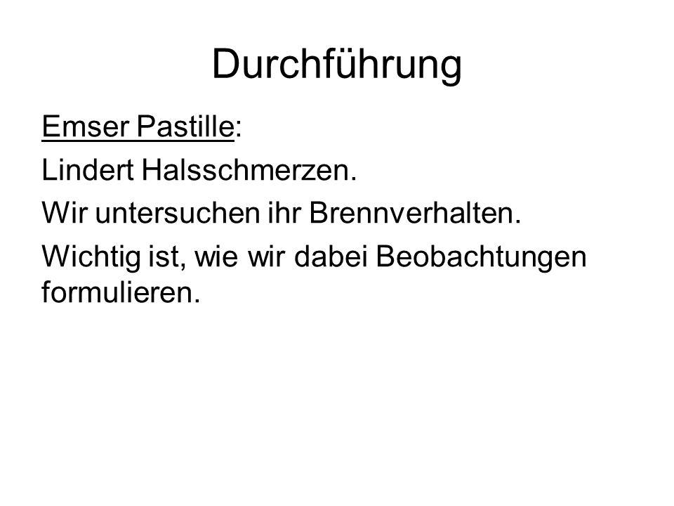Durchführung Emser Pastille: Lindert Halsschmerzen.