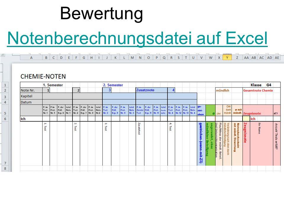 Notenberechnungsdatei auf Excel